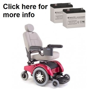 Pride Mobility Jet 1 Wheelchair Replacement Battery (2 Batteries)